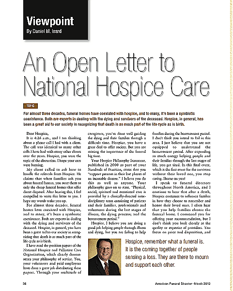 Funeral And Cemetery Consultants Blog An Open Letter To National Hospice Care
