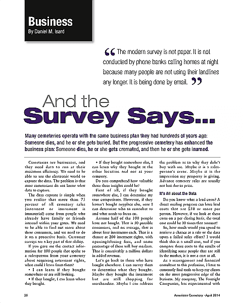 Funeral And Cemetery Consultants Blog And The Survey Says.