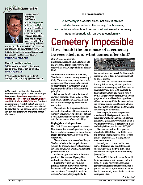 Funeral And Cemetery Consultants Dan Isard CI May 2016
