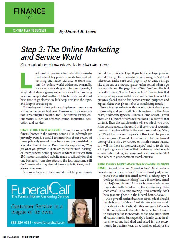 funeral and cemetery consultants dan isard finance 101 the online marketing and service world