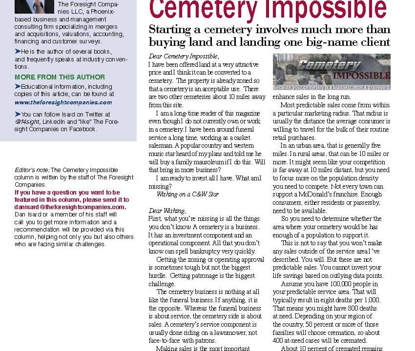 Funeral And Cemetery Consultants Dan Isard Isard ICCFAMag 12 001
