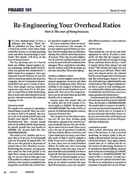 Funeral And Cemetery Consultants Dan Isard Re Engineering Your Overhead Ratios Part 2 July 2014 Finance 101 The Director
