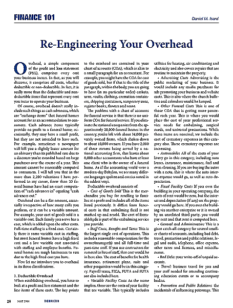 Funeral And Cemetery Consultants Dan Isard Re Engineering Your Overhead The Director May 2014