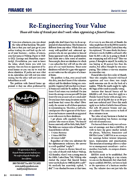 Funeral And Cemetery Consultants Dan Isard Re Engineering Your Value Finance 101 The Director December 2014