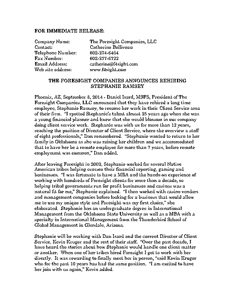 Funeral And Cemetery Consultants Dan Isard Stephanie Ramsey Press Release