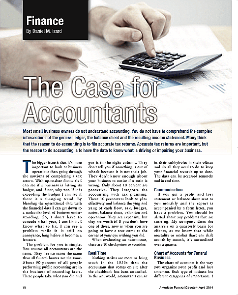 Funeral And Cemetery Consultants Dan Isard The Case For Accountants April14Afd