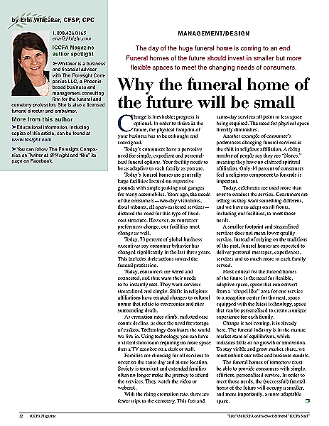 Funeral And Cemetery Consultants Dan Isard Why The Funeral Home Of The Future Will Be Small Iccfa February 2015 Ew