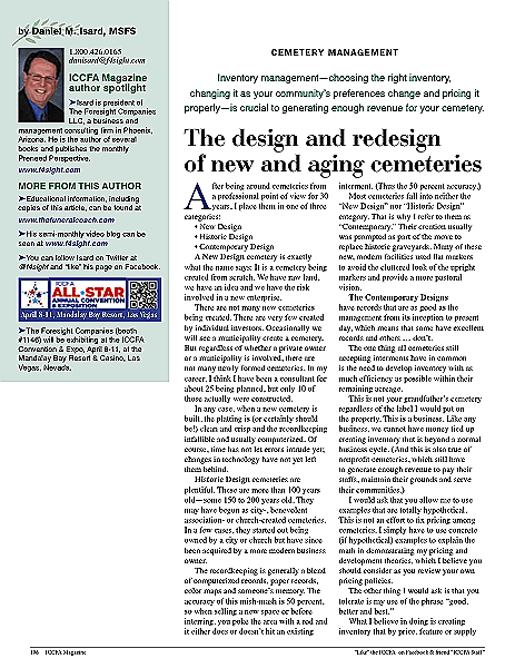 The Design And New Design Of New And Aging Cemeteries March April 2014